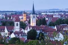 Panorama of Erfurt. At evening. Erfurt, Thuringia, Germany royalty free stock images