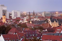 Panorama of Erfurt. At evening. Erfurt, Thuringia, Germany stock image