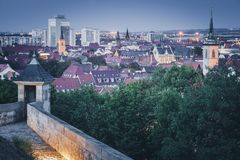 Panorama of Erfurt. At evening. Erfurt, Thuringia, Germany royalty free stock photography