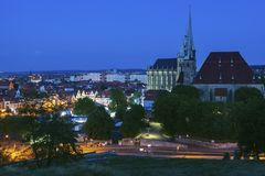 Panorama of Erfurt. With St Mary Cathedral at evening. Erfurt, Thuringia, Germany stock photo