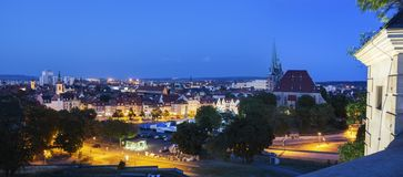 Panorama of Erfurt. With St Mary Cathedral at evening. Erfurt, Thuringia, Germany stock photography