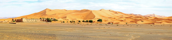 Panorama from the Erg Chebbi desert in Morocco Stock Image