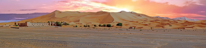 Panorama from the Erg Chebbi desert in Morocco Stock Photo