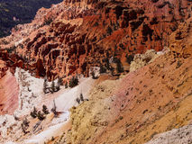 Panorama, eroded red Navajo sandstone. Pinnacles and canyons Cedar Breaks National Monument, Utah stock photography