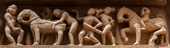 Panorama of erotic bas relief, Khajuraho, India Royalty Free Stock Photography