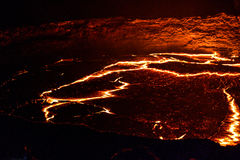 Panorama Erta Ale volcano crater, melting lava, Danakil depression, Ethiopia Royalty Free Stock Photo