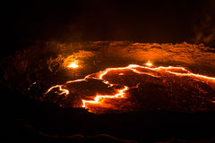 Panorama Erta Ale volcano crater, melting lava, Danakil depression, Ethiopia royalty free stock photos