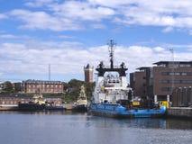 Panorama of Esbjerg oil harbor, Denmark Stock Photos