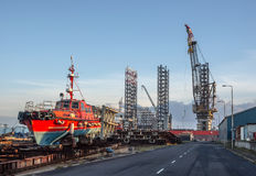 Panorama of Esbjerg oil harbor, Denmark Stock Images