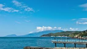 Panorama escénico del verano del embarcadero del Mar Negro metrajes