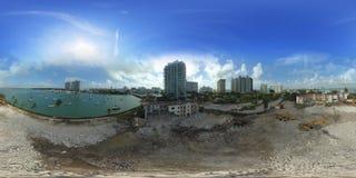 Panorama esférico aéreo de un emplazamiento de la obra Miami Beach Ven Imagen de archivo libre de regalías