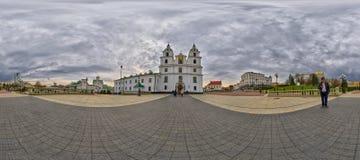 Panorama esférico de la catedral del Espíritu Santo, Minsk, Bielorrusia Imágenes de archivo libres de regalías
