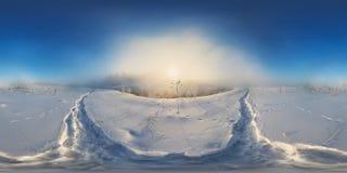 Panorama esférico de la niebla de la mañana del invierno Foto de archivo libre de regalías