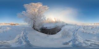 Panorama esférico de la niebla de la mañana del invierno Imagenes de archivo