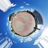 Panorama esférico del cuadrado de Lenin de Tomsk Fotos de archivo