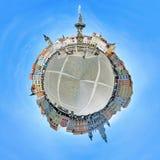 Panorama esférico do quadrado central de Ceske Budejovice Fotografia de Stock