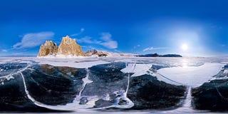 Panorama esférico 360 180 grados de chamán del cabo en la isla de Imagen de archivo