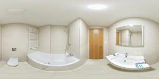 Panorama esférico inconsútil completo 360 grados de visión en cuarto de baño vacío blanco moderno del lavabo con la cabina de la  fotografía de archivo