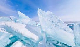 Panorama estereográfico de Baikal de los morones azules del hielo Foto de archivo libre de regalías