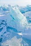 Panorama estereográfico de Baikal de los morones azules del hielo, Listvyanka Imagen de archivo