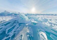 Panorama estereográfico de Baikal de los morones azules del hielo, Listvyanka Foto de archivo libre de regalías