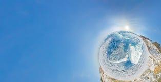 Panorama estereográfico de Baikal de los morones azules del hielo, Listvyanka Imágenes de archivo libres de regalías