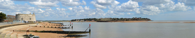 Panorama of the Estuary of the river Deben at Felixstowe Ferry Royalty Free Stock Images