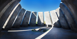 Panorama of Eternal flame in Tsitsernakaberd - memorial dedicated to the victims of the Armenian Genocide. Yerevan, Armenia. The e Stock Photos