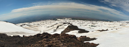 Panorama from Etna mountains. Wide panorama shot from Etna vulcano in Sicily Stock Image