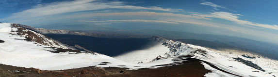 Panorama from Etna mountains. Wide panorama shot from Etna vulcano in Sicily Stock Photo