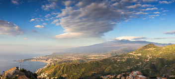Panorama of the Etna and the sicilian coastline Royalty Free Stock Image