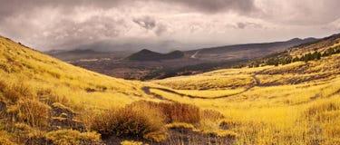 Panorama on the Etna volcano, Sicily, Italy. Etna volcano in Sicily, Italy Royalty Free Stock Photography