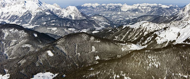 Panorama of european alps in winter Royalty Free Stock Photography