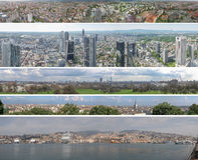 Panorama europeu das cidades Fotografia de Stock Royalty Free