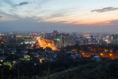 Panorama of the evening Almaty Stock Photography