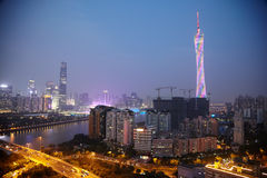 Panorama of evening Guangzhou Royalty Free Stock Photography