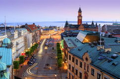 Panorama of evening Helsingborg Stock Images