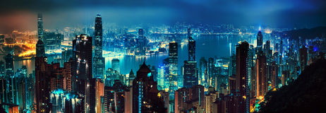 Panorama of evening hong kong. Panorama of lights of evening hong kong Royalty Free Stock Photos