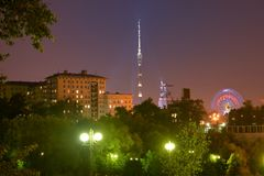 Panorama of evening Moscow. Ostankino tower and Mukhina's sculpture. Strolling through the evening Moscow, you can see a beautiful panorama. Ostankino tower and Royalty Free Stock Image