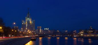 Panorama of evening Moscow stock photo