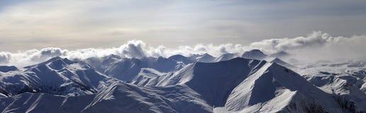 Panorama of evening mountains stock photos