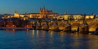 Panorama of the evening Prague Royalty Free Stock Images