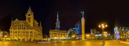 Panorama of the evening square Stock Images