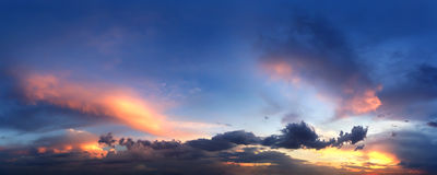 Panorama of evening sunset sky Royalty Free Stock Photo