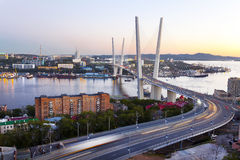 Panorama of evening Vladivostok. Russia Stock Photo