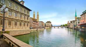 Panorama of evening Zurich Royalty Free Stock Image