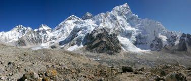 Panorama Everest & Nupse van Kalapattar, 5545m Royalty-vrije Stock Afbeelding