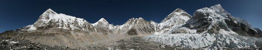 Panorama from the Everest Base Camp, Himalayas, Nepal. Stock Photos