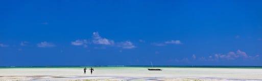 Panorama of exotic coast in Zanzibar Royalty Free Stock Photography