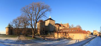 Panorama of fort in Oslo, Norway. Panorama of exterior of old fort wall in Oslo, Norway stock photos